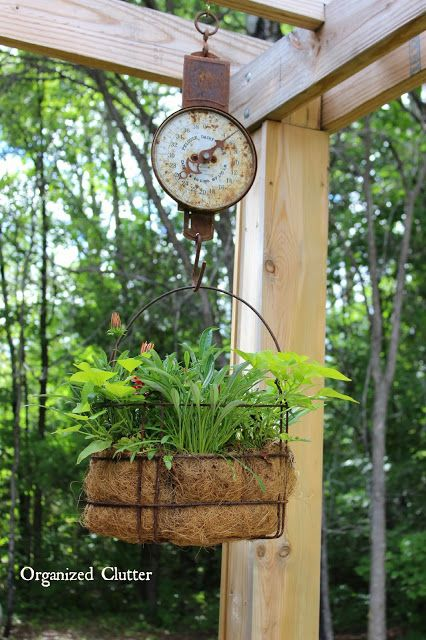 Dana's Fun Outdoor Junk Decor & Gardens is part of Diy garden, Garden junk, Garden decor, Garden containers, Rustic gardens, Garden design - Remember when I purchased two old gears with my birthday money last month  I got them from my friend, Dana  Dana and her daughter own and operate West Tischer Cottage, a fabulous occasional shop in Duluth, Minnesota  West Tischer Cottage sells vintage, upcycled and repurposed items as well as painted furniture  Well, when I went to pick up my gears, I fell in love with all of Dana's outdoor junk vignettes, and returned last night with my camera  This old fence vignette is situated on one of her garage walls  Dana was apologetic about some of the flowers in her gardens  She is on the road much of the summer picking great junk for her shop, and they can get neglected  This perennial flower bed is so fun with an old gate, hoe, pump, and milk can  Even though it's not Halloween, this  great witch  plasma cut shovel head is at home in her summer bed  My garden stepladder seems very ordinary when Dana has the steps to an old  Everwear  playground slide in her garden!!! I love it  The windmill adds so much vertical interest to an already very interesting garden  How about this pig feeder planter of succulents  All very healthy and happy! This barn door bench is on Dana's deck  It holds a fun collection of hose nozzles, and other small rusty junk  I think this bird is a relative to my rusty crow! Dana purchased this hot air balloon from a metal artisan  She burns a candle inside it in the evening  The pergola is the perfect place to hang and display plants in unusual junky containers with pulleys, scales, and rusty hooks  A most unique plant stand! Another rusty metal vignette along the front wall of the house  All junk is neatly, and strategically, arranged in a bed of rocks  Some pieces from family farms are sentimental  I am so glad I got to share this special yard and gardens with you  Thanks Dana! Get Posts Delivered by Email