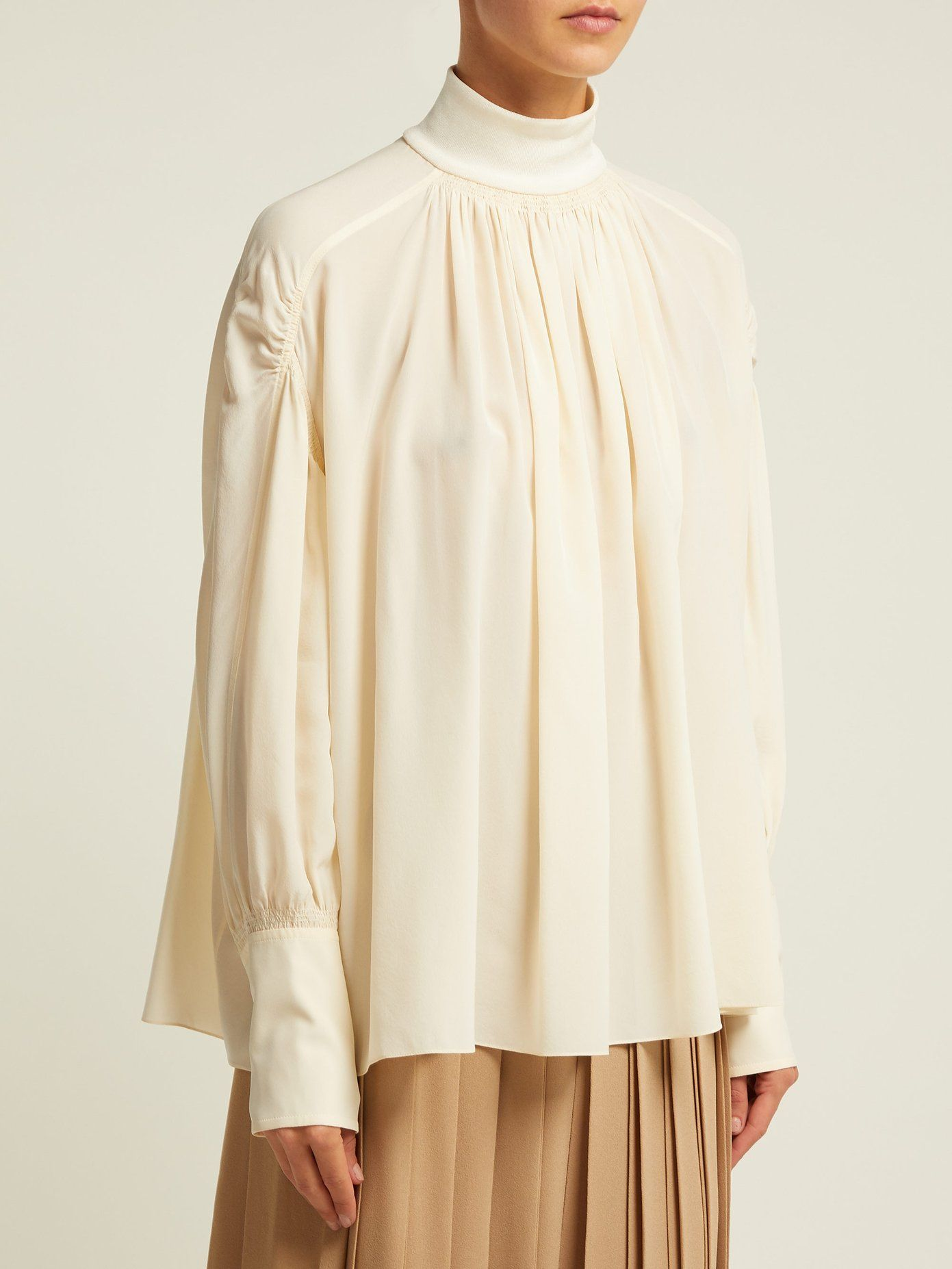 68d4397a752fe4 Roll-neck silk crepe de Chine blouse