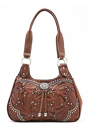 American West Ladies Lady Lace Antique Brown and Turquoise Floral Concho  Handbag 355bb04bb9ecd