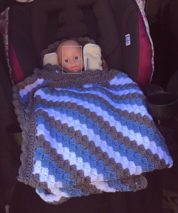 Car Seat Blanket Large Warm Scallop Edge Any Color Combo Car
