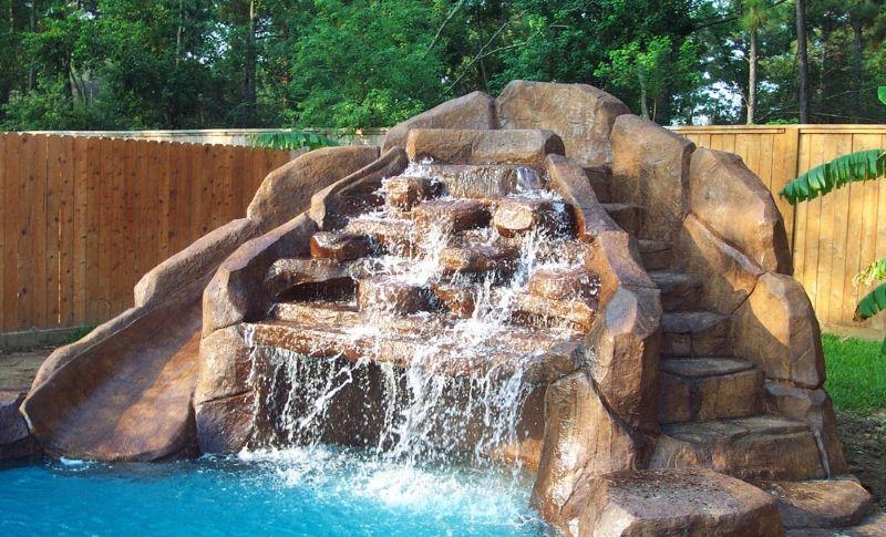 Swimming Pool Waterfalls Backyard Patio Pool Waterfall
