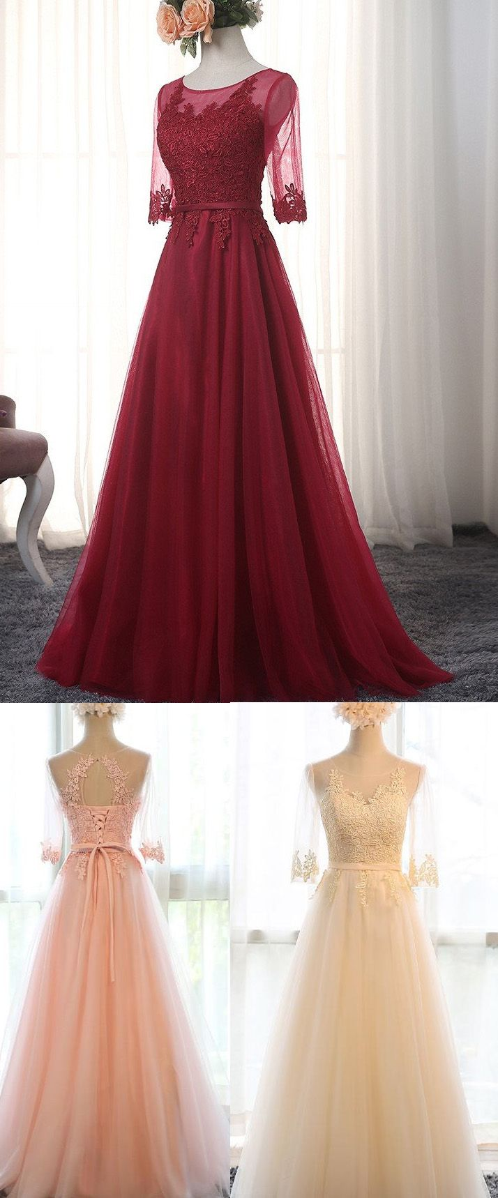 Customized sleeves dresses long burgundy evening prom dresses with
