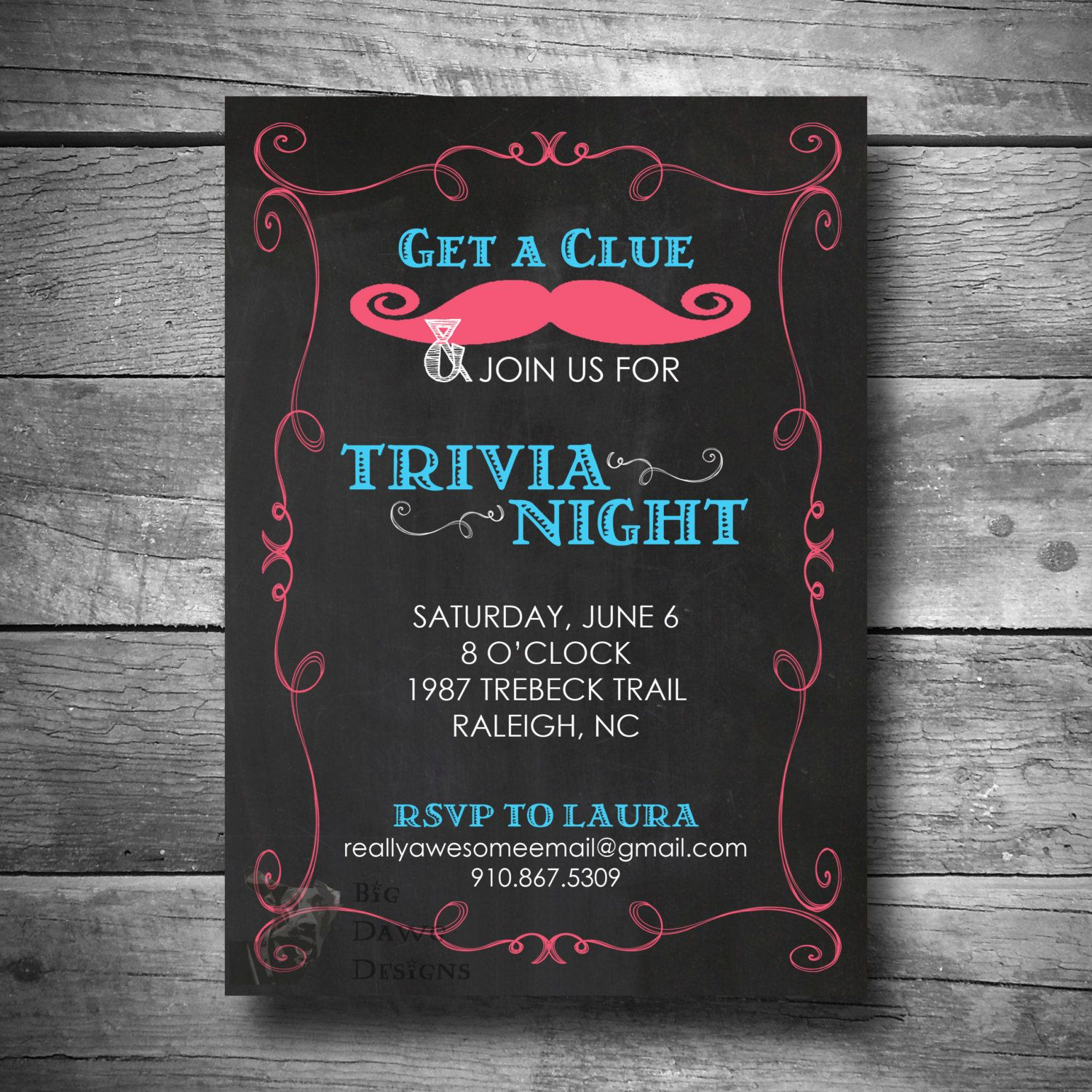 Trivia Party Invitation, Game Night Invite, Printable, Text or Email ...