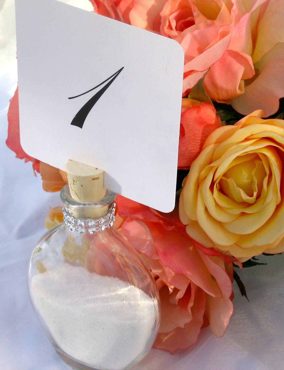 Beach Wedding- Sand Bottle Table Number holder trimmed with a ...