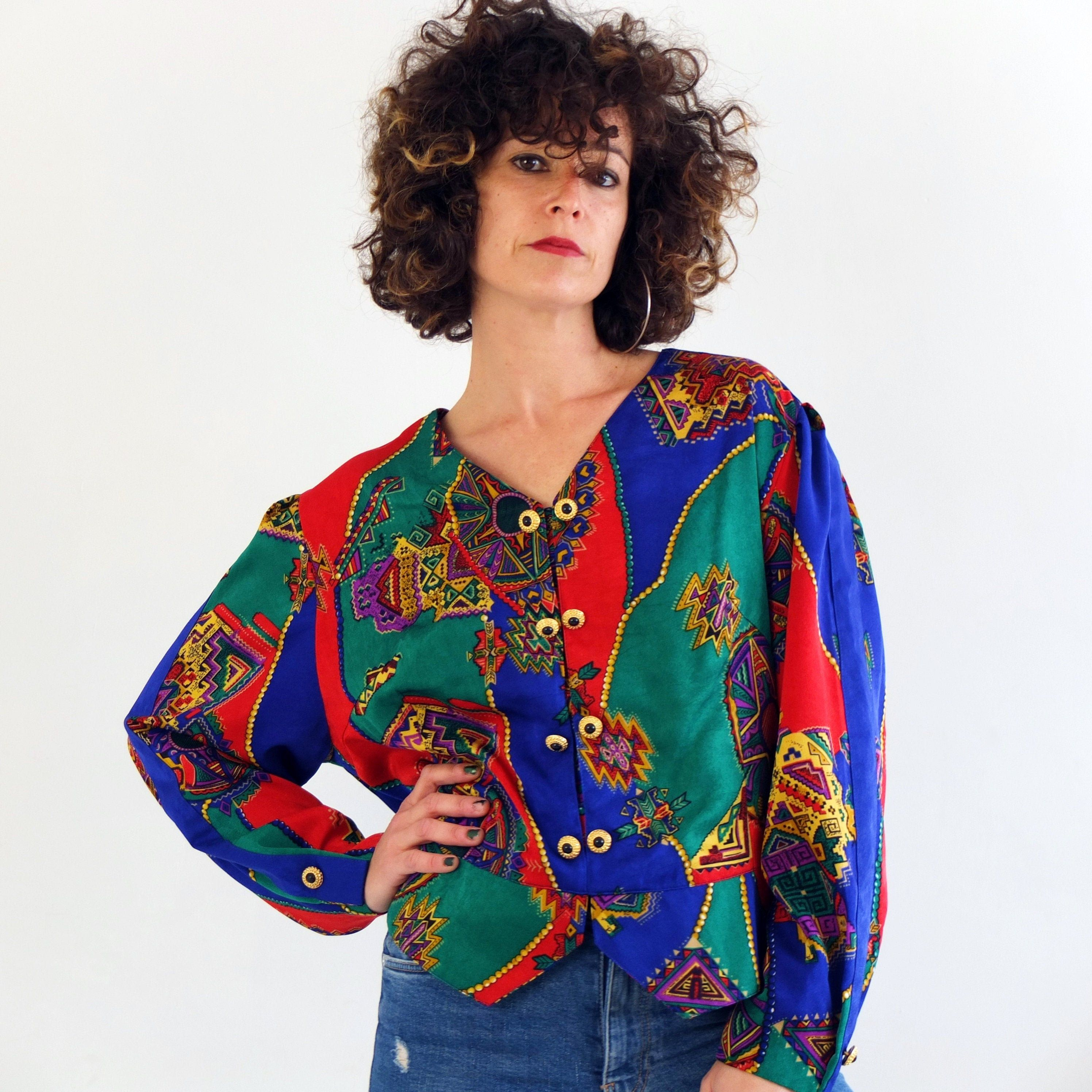 urban hawaiian blue 1980s FLORAL Blouse..size medium womens...floral crop blouse boho mint top colorful hippie summer 80s clothing