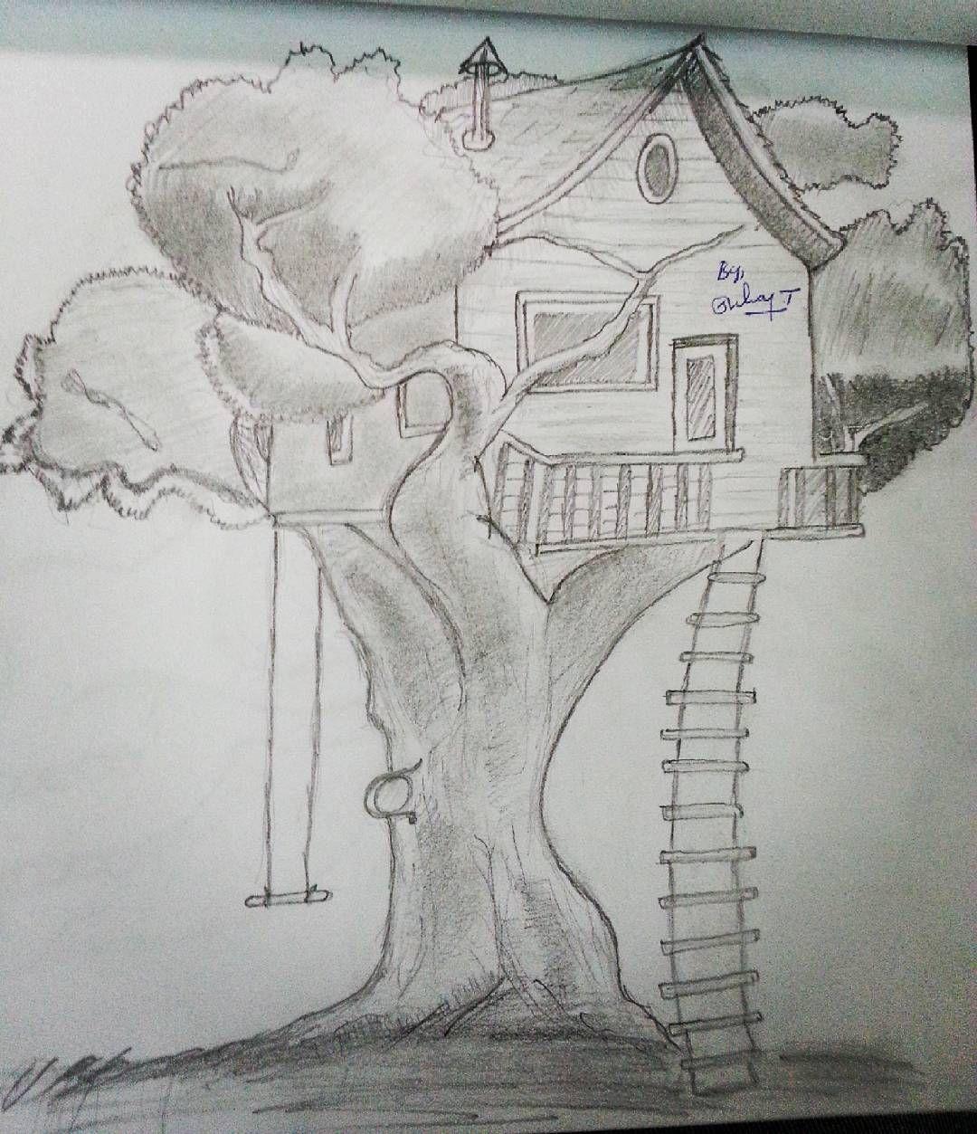 Tree house pencil drawing drawingoftheday pencil pencildrawing drawing art easydrawing beginers