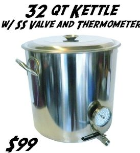 32 Qt Stainless Home Brew Boiling Kettle Stockpot W Valve Thermometer Ebay Stainless Steel Kettle Home Brewing Kettle Ball