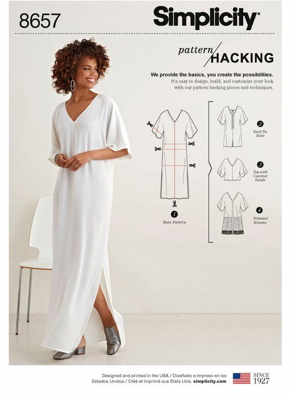 Sewing Pattern Women's Caftan Pattern, Loose Fit Tunic Pattern, Pullover Top Pattern, Simplicity Sewing Pattern 8657 #blousesewingpattern