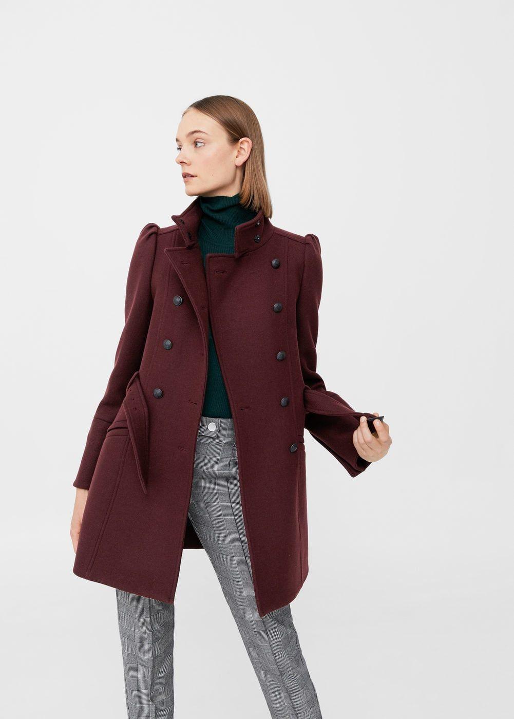 Puffed Shoulder Wool Coat Woman Mango Denmark Long Coat For Girls Coats For Women Wool Coat Outfit