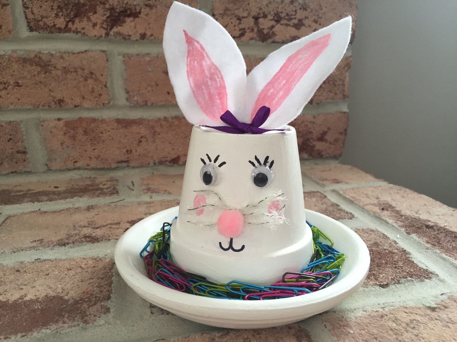 Clay pot bunny candy dish easter bunny desk decoration teacher clay pot bunny candy dish easter bunny desk decoration teacher gift for easter negle Choice Image