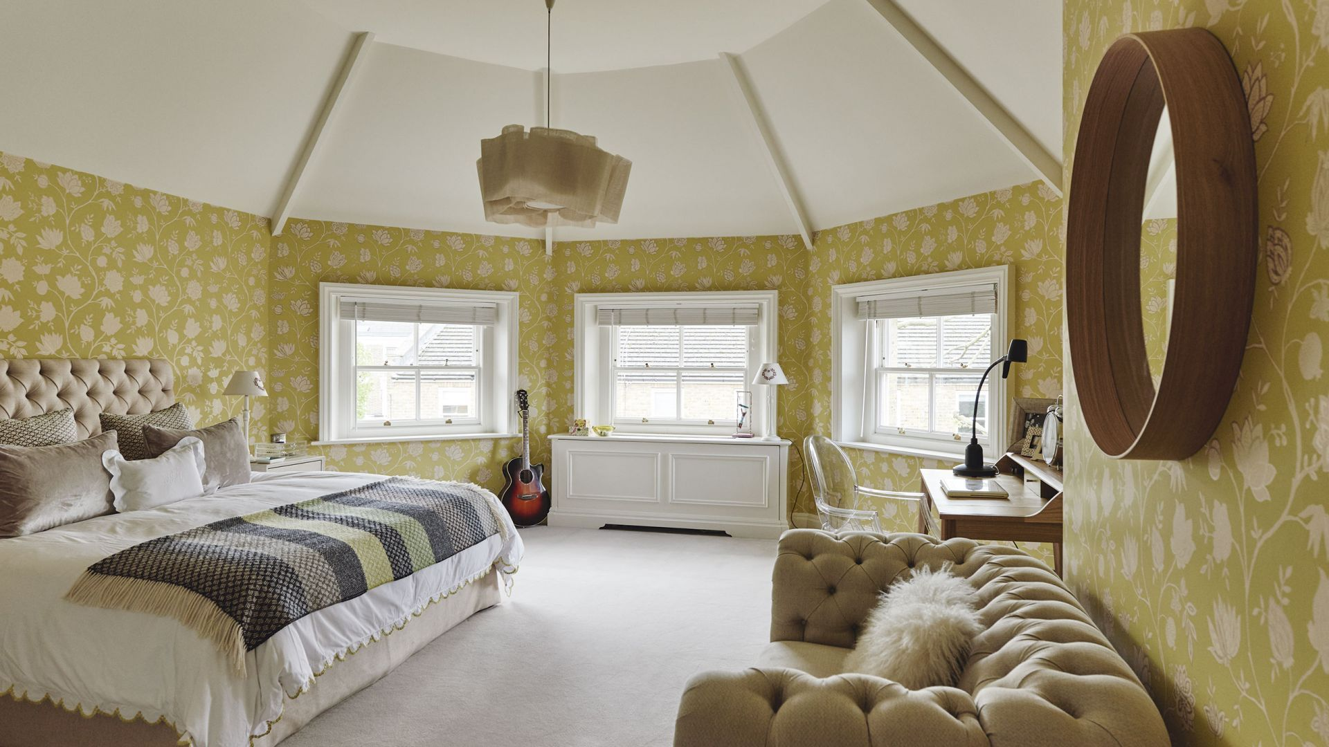 Under loft bed lighting ideas  Traditional Attic Bedroom with Yellow Wallpaper  Bedrooms