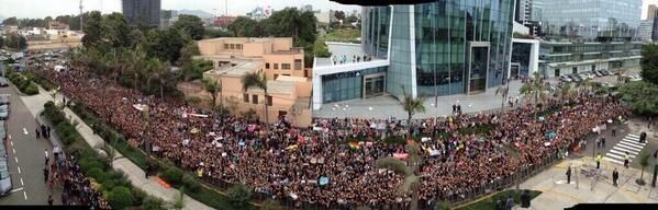 Fans outside the Hotel in peru