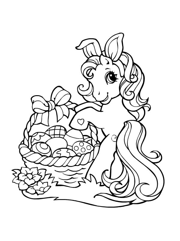 coloriage petit poney lapin de paques et ses oeufs