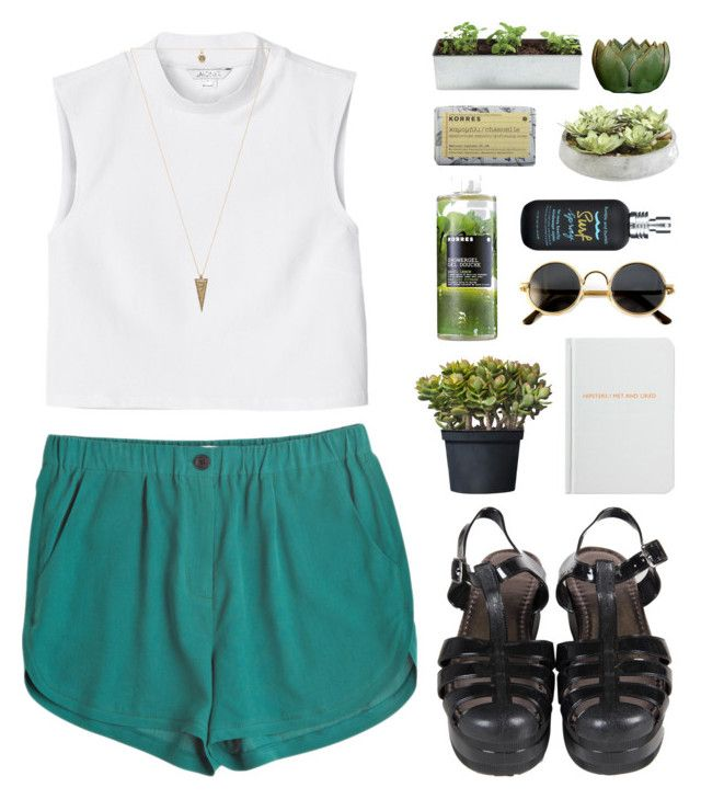 """Green"" by f-resh ❤ liked on Polyvore featuring Go Silk, Monki, House of Harlow 1960, Archie Grand, Korres, Bumble and bumble, Ethan Allen, white, black and shorts"