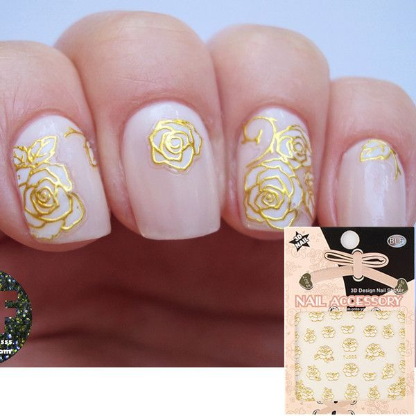 1pc hot sell gold 3d nail art sticker delicate floral patterned 1pc hot sell gold 3d nail art sticker delicate floral patterned sticker prinsesfo Choice Image