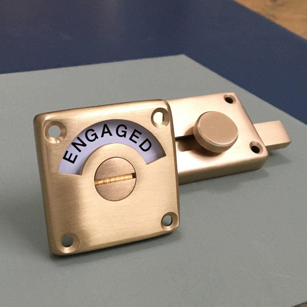 Satin brass vacant engaged lock clarendon pinterest - Bathroom door that fogs up when locked ...