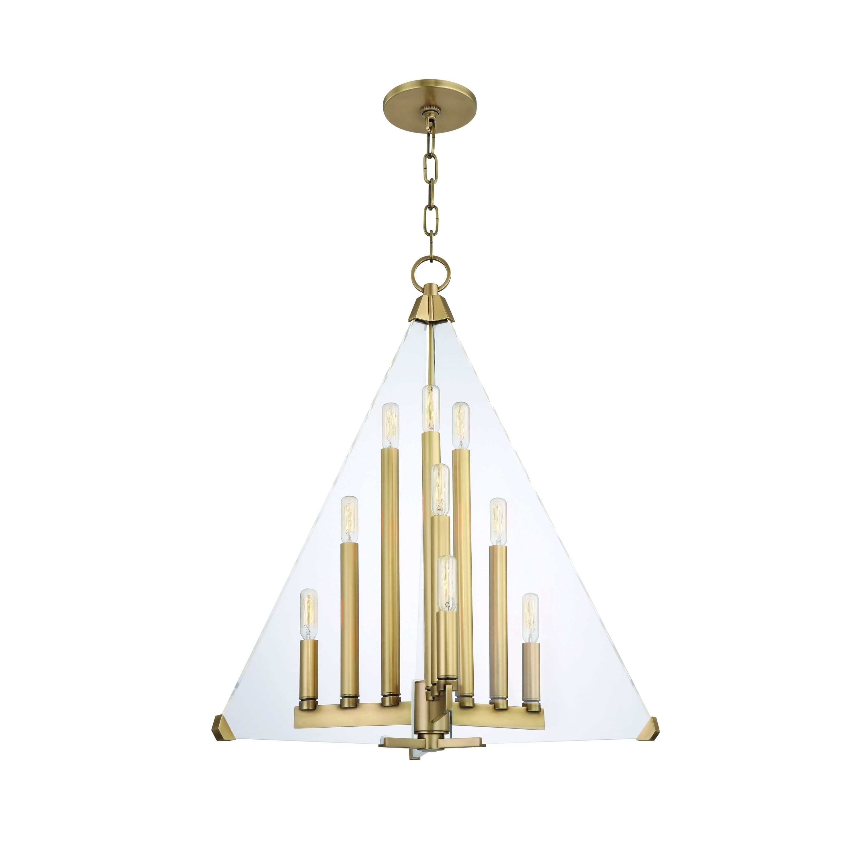 Hudson Valley Triad 9 light Aged Brass Pendant Aged Brass Clear