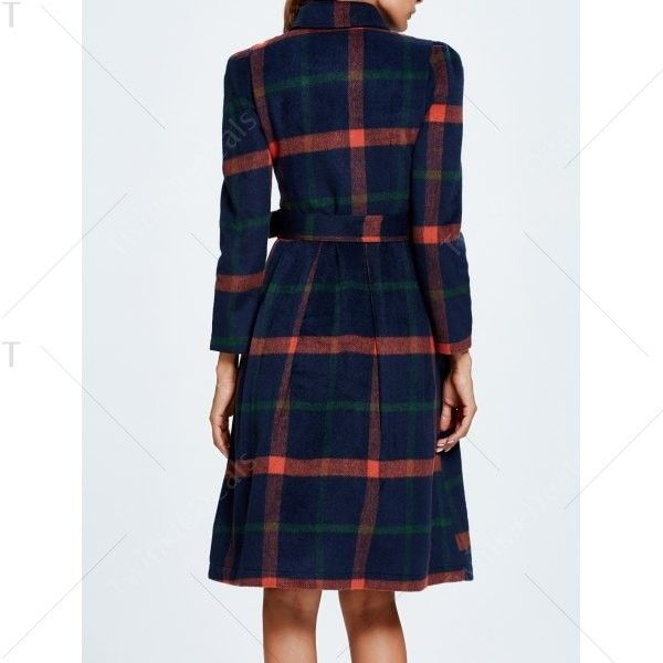 Belted Plaid Wool Blend Coat ($41) ❤ liked on Polyvore featuring outerwear, coats, wool blend coat, plaid coat, tartan coat and belted coat
