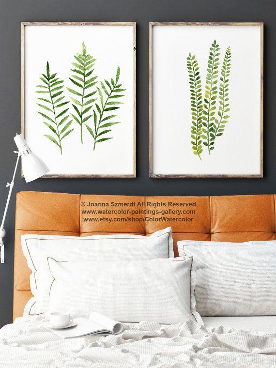 farn drucken gr n botanische kunst satz von 2 farne frauen aquarell natur wand decor geschenk. Black Bedroom Furniture Sets. Home Design Ideas