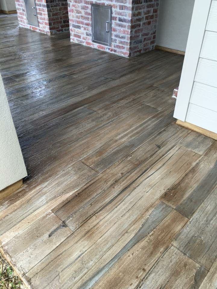 Exterior concrete wood plank floor 2016 snap win for Hardwood floor concrete stamp