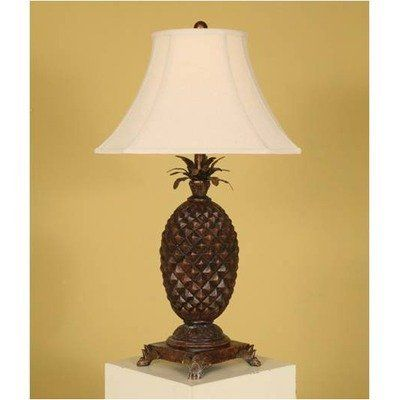 Carved Pineapple Table Lamp By Passport Accent Furniture Brown
