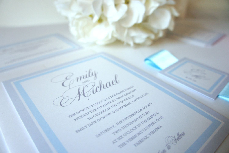 Light Blue Wedding Invitation Sample Set Grey