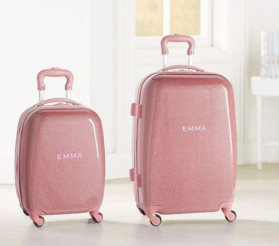 Pink Sparkle Glitter Hard Sided Kids Suitcase Pottery