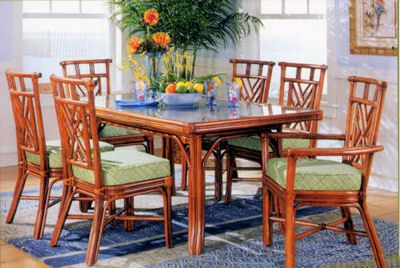 Key Largo Rectangle Cane Dining Room Set From Tickle Imports Model 17220 Wicker Dining Set Rectangle Dining Room Set Dining Room Furniture Sets