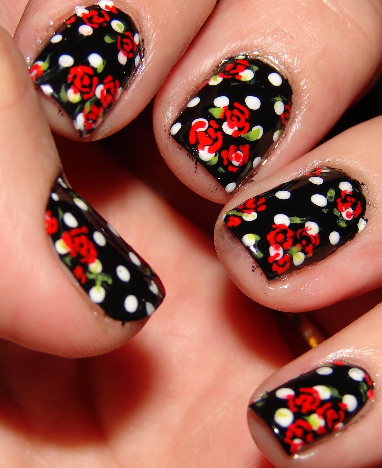 Kawaii nail art whatus black white and red all over pretty