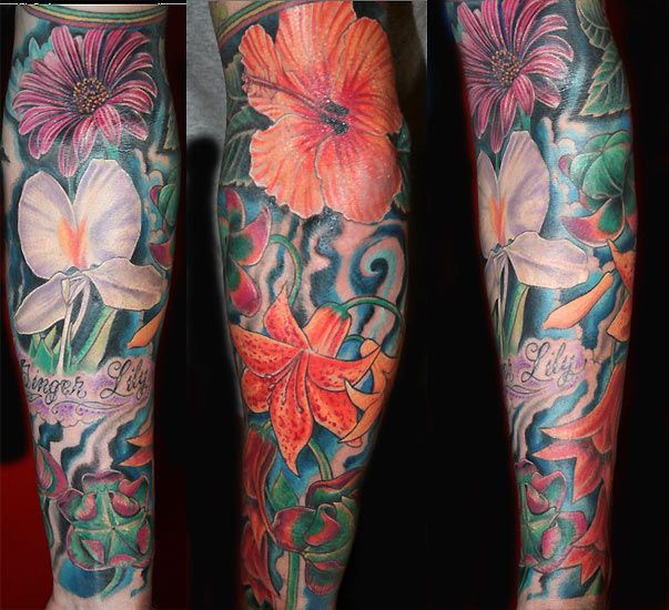 Unique Tropical Flower Tattoos For Women Off The Map Tattoo Tattoos Color Flower Sleeve Tat Tropical Flower Tattoos Flower Tattoo Sleeve Sleeve Tattoos