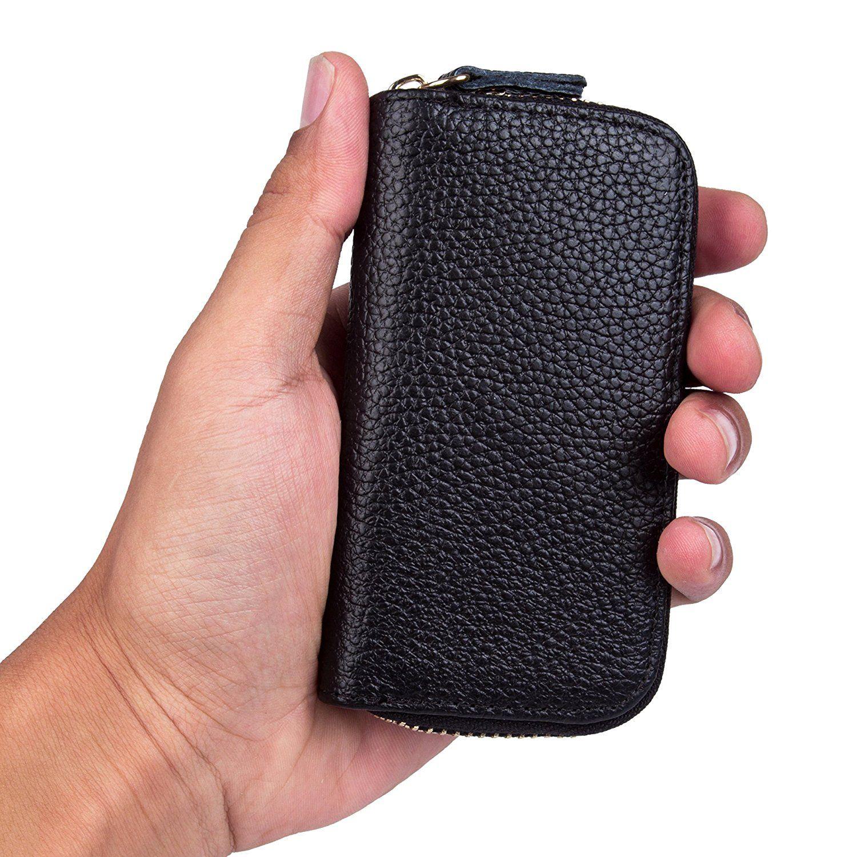 Car keychain key holder bag wallet cover 6 key hooks