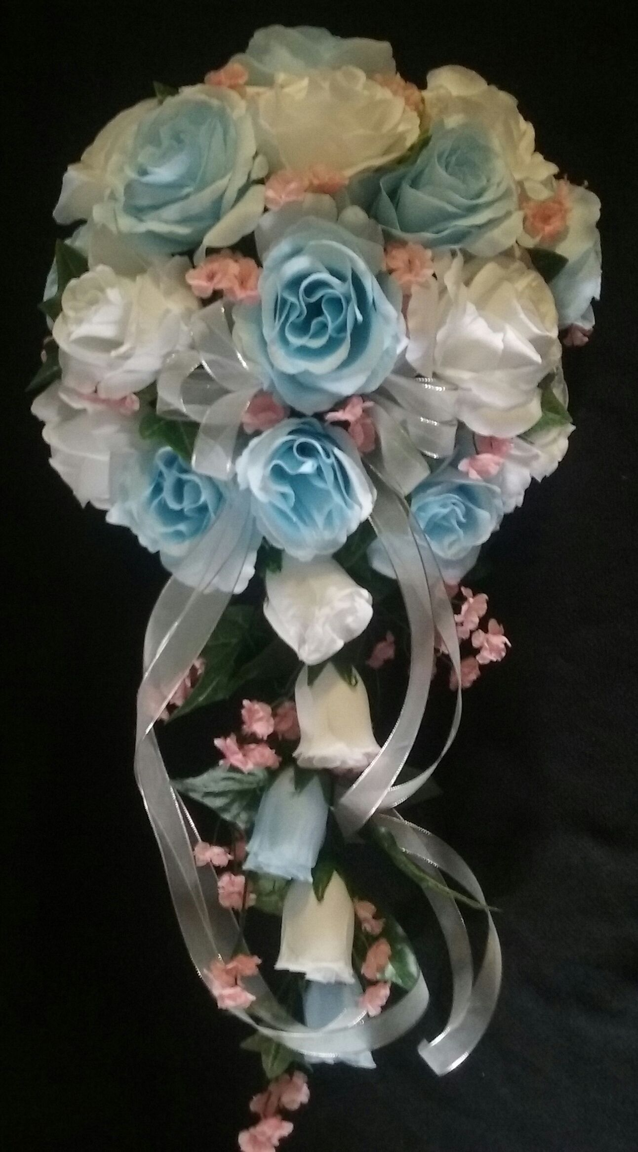 Cascade Bridal Bouquet with White and Baby Blue Roses with pink ...