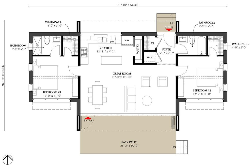 Modern Style House Plan - 2 Beds 2 Baths 991 Sq/Ft Plan #933 ... on carport plans, 2 bath home, 2 garage plans, 2 room house plans, 2 bath plumbing, 2 master suite house plans, 2 floor house plans, storage shed plans, deck plans,