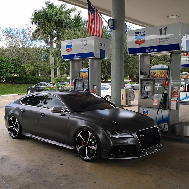 Matte Black Audi RS7 Thirsty For Gas. Owner @Rs_Svn