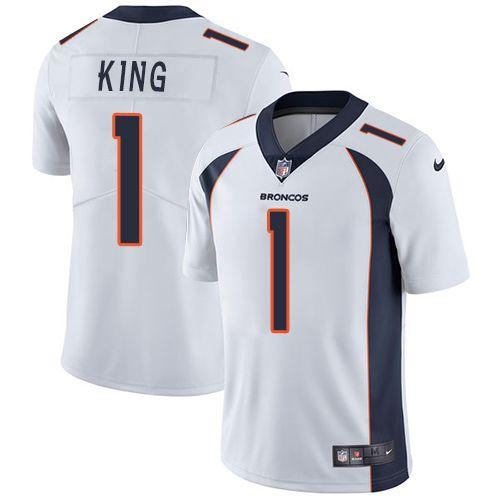 e260d50310b Nike Broncos  1 Marquette King White Men s Stitched NFL Vapor Untouchable  Limited Jersey