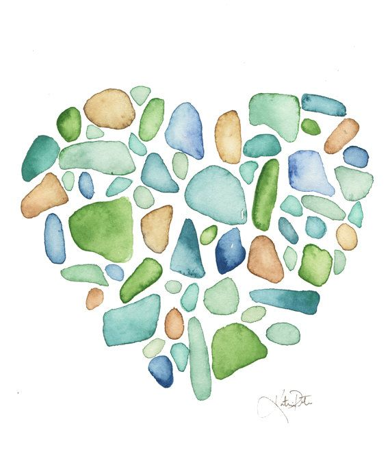 Sea Glass Heart Watercolor Print Sea Glass Illustration