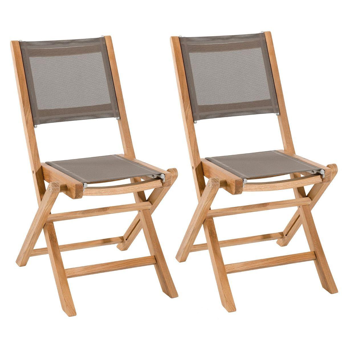 Lot De 2 Chaises De Jardin Pliantes En Bois De Teck Et Tissu Textilene Taupe Summer Bois De Teck Teck Et Chaise