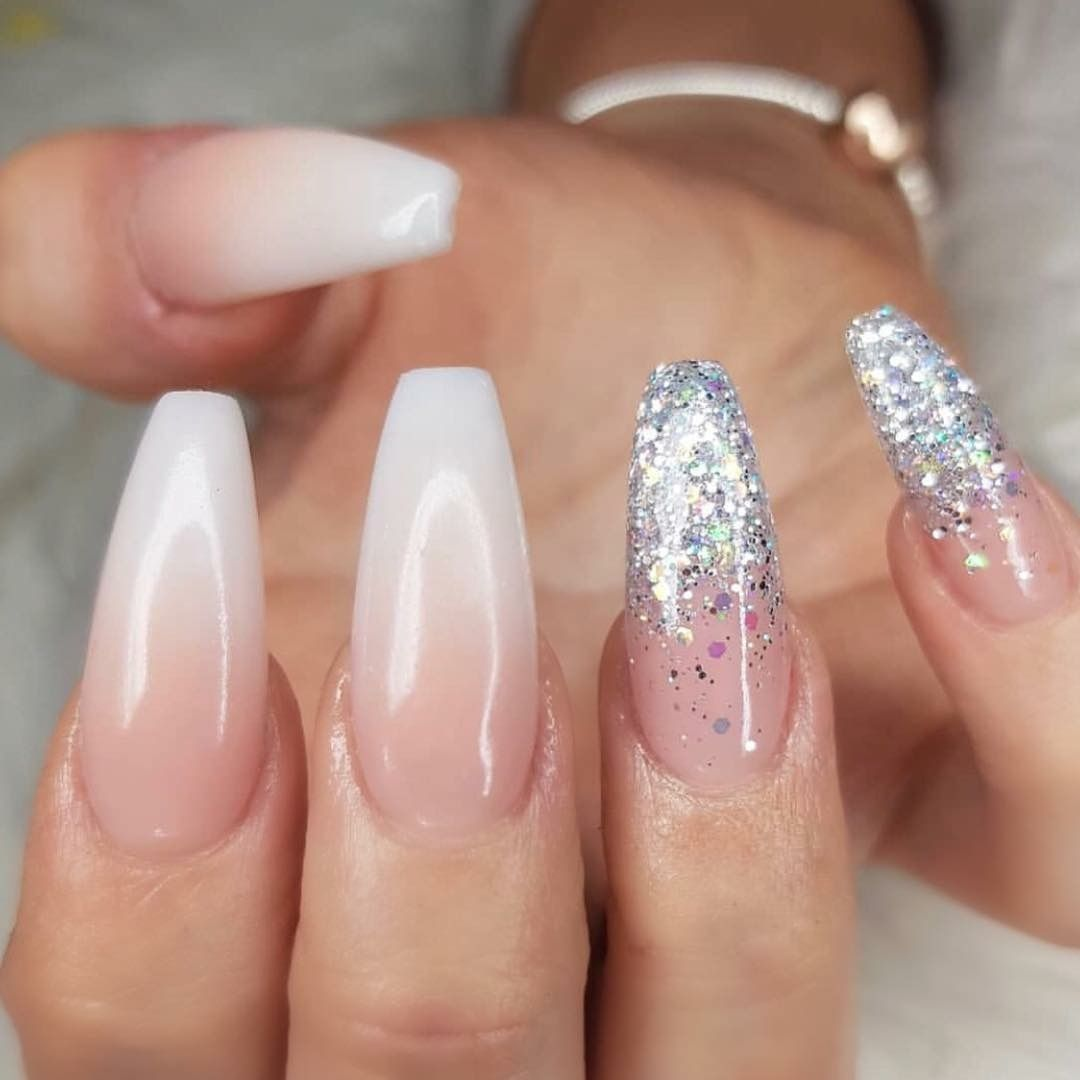 Pinterest Maebelbelle Faded Nails Glitter Nails Acrylic Coffin Nails Designs