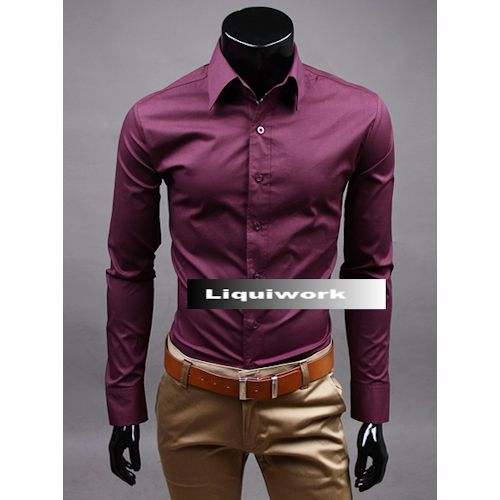 Men Burgundy Long Sleeve Button Down Slim Fit Wedding Prom Dress ...