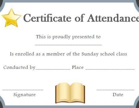Sunday School Attendance Certificate Sunday School Certificate