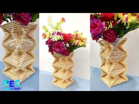 How To Make Ice Cream Stick Flower Vase