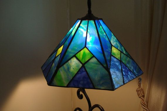 Blue and green six panel stained glass lamp shade vidrieras panel blue and green six panel stained glass lamp shade aloadofball Image collections