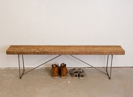 Reclaimed Wood Bench found on BLTD. This, with a wall-mounted clothing rack - Reclaimed Wood Bench Found On BLTD. This, With A Wall-mounted
