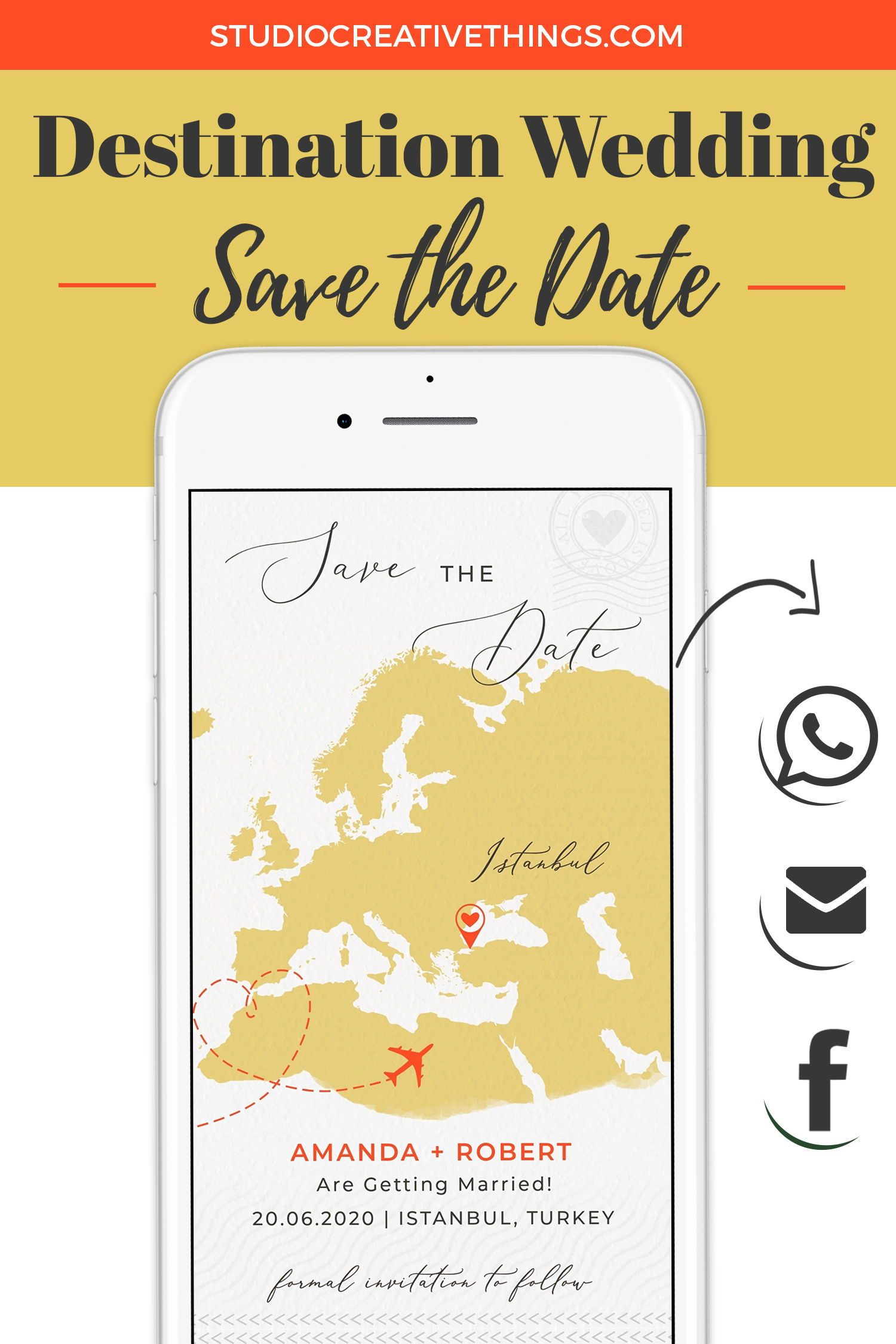 Destination wedding save the date electronic invitations
