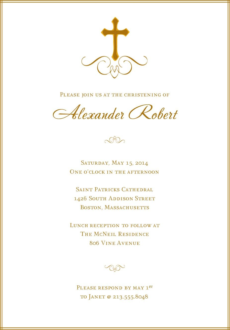 A simple classic design with a central cross and subtle flourishes a simple classic design with a central cross and subtle flourishes this baptism invitation design is easily personalized online and print at home stopboris Image collections