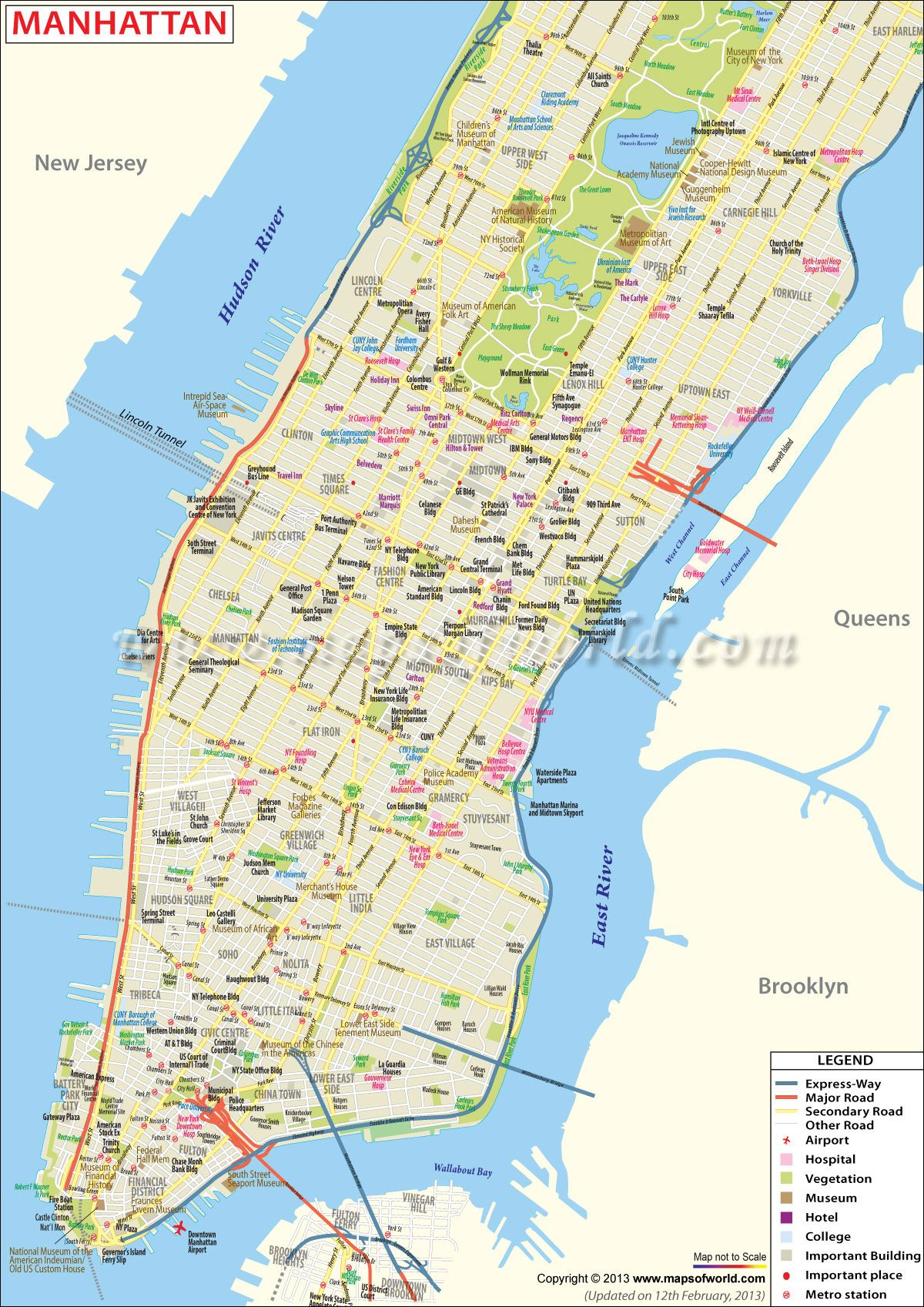 Map of Manhattan shows the city attractions road network express