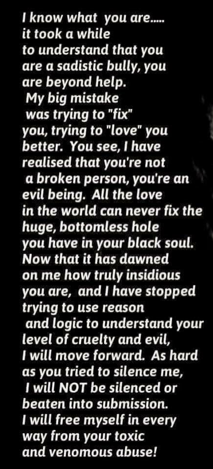 Letter to Narcissistic Sociopath Siblings.let them go. They can