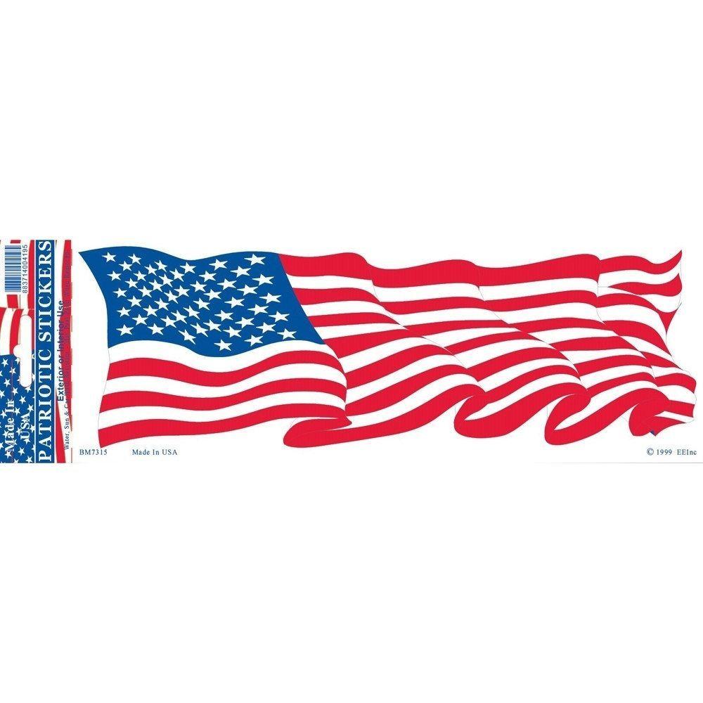 wavy Bumper Sticker American Flag