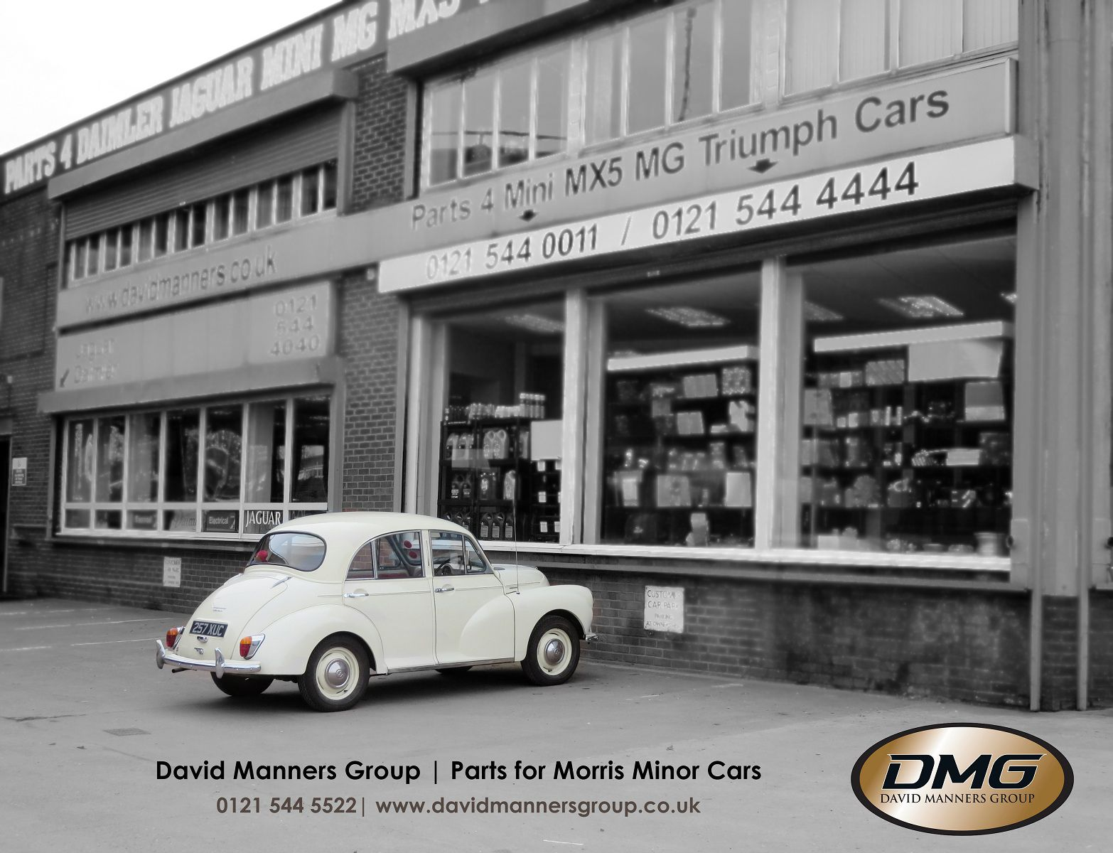Morris Minor 1000 in white at the David Manners Group http