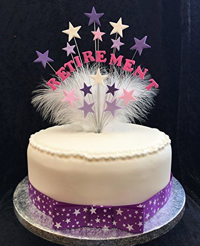 Retirement Cake Topper Pinks Purples Cake Decorating Retirement